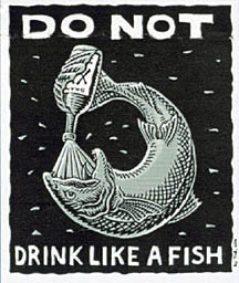 Ray Troll t shirt don't drink like a fish